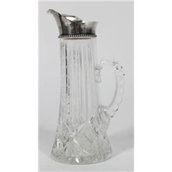 Cut Glass Pitcher with Sterling Silver Spout