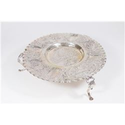 Continental Silver Seder Plate on Legs
