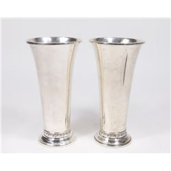 Pair Sterling Silver Vases