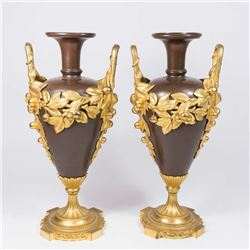 Pair Dore Bronze on Bronze Urns