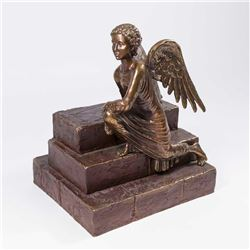 Bronze Sculpture, Angel Kneeling on Steps