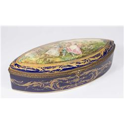 Sèvres Style Oval Box with Courting Scene