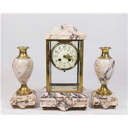 3-Piece Bronze & Marble Clock Set