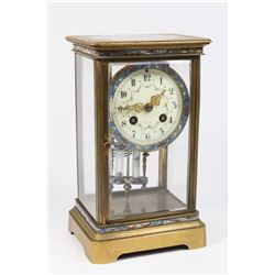 French Champleve Cloisonné Crystal Regulator Clock