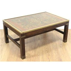 Brass Mounted Coffee Table with Pictorial Top