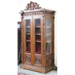 :Carved Oak Figural Cabinet