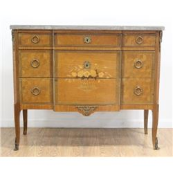 French Satinwood & Walnut Inlaid Commode