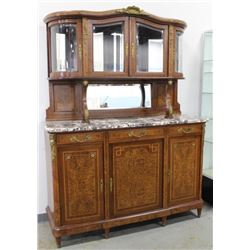 2-Part Marble Top Curio Cabinet Top Sideboard