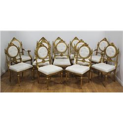 :12 Neoclassic Style Giltwood Dining Chairs