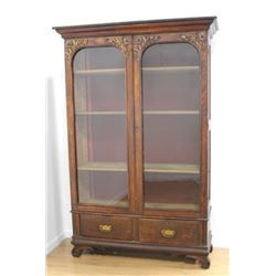 Victorian Oak 2-Door Bookcase