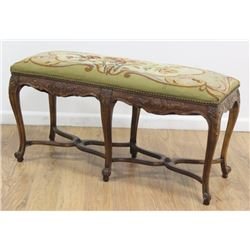 Carved Walnut French Style Needlepoint Bench
