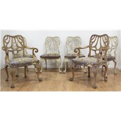 Set 6 Carved Paint-Decorated Dining Room Chairs