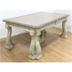 Carved Off-White Finish Walnut Dining Table