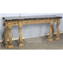 Marble Top Carved Walnut Paint-Decorated Sideboard