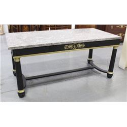 Black Empire Style Marble Top Bronze Mounted Table