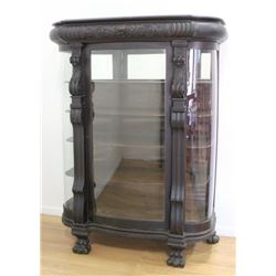 Carved Oak Victorian China Cabinet