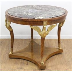 :Empire Style Marble Top Center Swan Leg Table