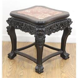Chinese Teakwood Marble Top Low Table