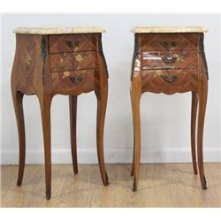 Pair French 2-Drawer Marble Top Commodes