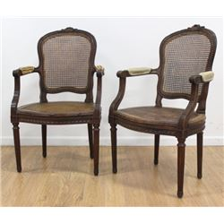Pair Louis XVI Style Carved Walnut Fauteuils