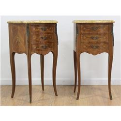 Pair French Marble Top Tulipwood Commodes