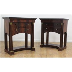 Pair Empire Style Mahogany Side Tables