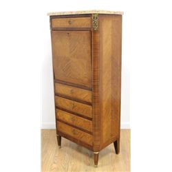 French Walnut Marble Top Abatant Drop-Front Desk