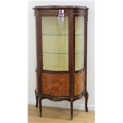 French Serpentine Front Curio Cabinet