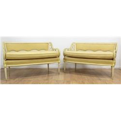 Pair Mid-Century Cane Back Loveseats