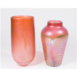 2 Modern Art Glass Vases