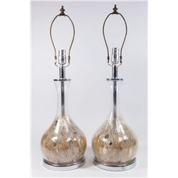 Pair Aquatic Glass Vases