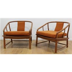 Pair James Mont Style Walnut Armchairs