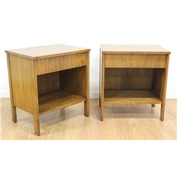 Pair John Widdicomb Faded Walnut Bedside Tables