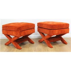 "Pair 70s American Orange Velvet ""X"" Bench"