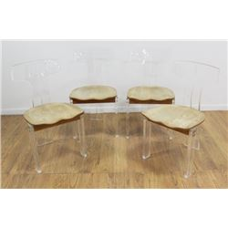 4 Modern Lucite & Oak T-Back Chairs