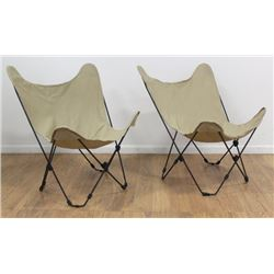 Pair 70s American BKF Style Folding Armchairs