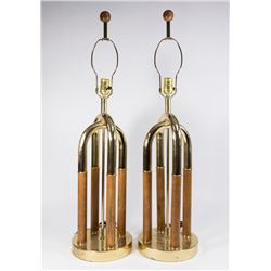 Pair 70s Brass & Walnut Table Lamps