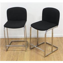 Pair 80s Chrome & Black Woven Cotton Barstools