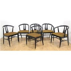 6 American 60s Black Painted Armchairs