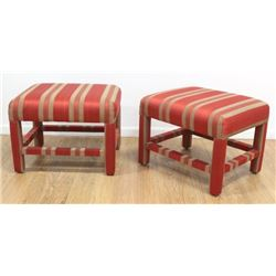 Pair Burgundy Striped OVer Upholstered Benches
