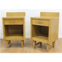 Pair 50s American Faded Walnut Bedside Tables