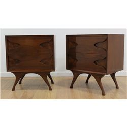 Pair 50s American Mahogany & Burlwood Night Tables