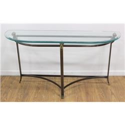 Modern Brass & Steel Glass Top Console Table