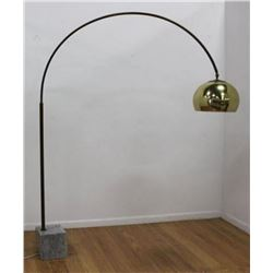 :Arco Brass & Grey Marble Floor Lamp