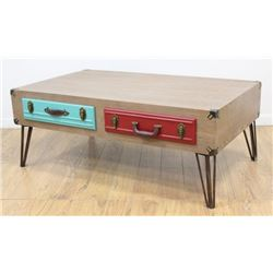 :Campaign Style Pickled Wood Coffee Table