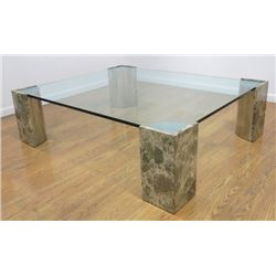 Modern Glass Top Chrome & Stone Base Coffee Table