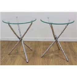 :Pair Cast Metal Faux Bamboo Gueridons
