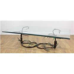 :Polychromed Wrought Iron Vine Coffee Table