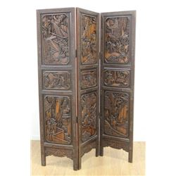 3-Part Asian Carved Screen