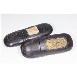 :19th-20th Cent. Asian Carved Wood Eyeglass Cases